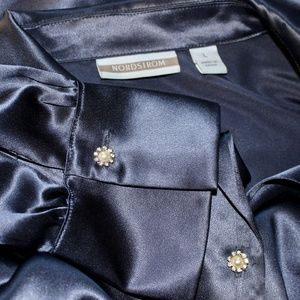 "Nordstrom Silk ""Breaker Blue"" Large Blouse, Beauty"